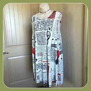 NWT Size 3 XL AZALEA music motif print tunic